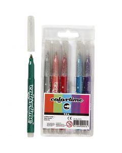 Feutres à paillettes Colortime, trait 4,2 mm, couleurs assorties, 6 pièce/ 1 Pq.