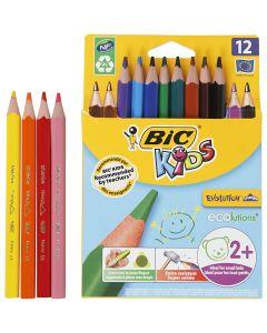 Crayons de couleur triangulaires Evolution, L: 14 cm, mine 5 mm, couleurs assorties, 12 pièce/ 1 Pq.