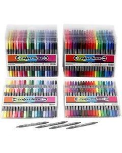 Feutres Colortime double pointe, trait 2,3+3,6 mm, couleurs classiques, couleur extra, 24 Pq./ 1 Pq.