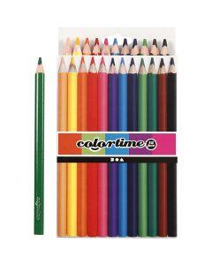 Crayons de couleur Colortime , L: 17,45 cm, mine 5 mm, JUMBO, couleurs assorties, 12 pièce/ 1 Pq.