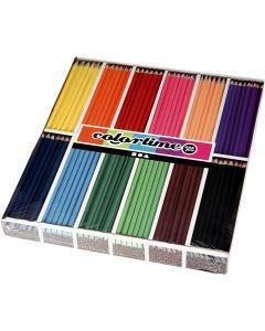 Crayons de couleur Colortime, L: 17,45 cm, mine 3 mm, couleurs assorties, 12x12 pièce/ 1 Pq.