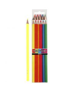 Crayons de couleur Colortime, L: 17,45 cm, mine 3 mm, couleurs néons, 6 pièce/ 1 Pq.
