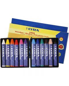 Crayon de cire Lyra, L: 9 cm, ép. 15 mm, 12 pièce/ 1 Pq.