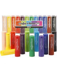 Craies à la cire Colortime, L: 8 cm, couleurs assorties, 12 pièce/ 1 Pq.