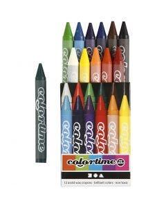 Crayon de cire Colortime, L: 10 cm, ép. 11 mm, couleurs assorties, 12 pièce/ 1 Pq.