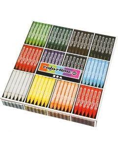 Crayon de cire Colortime, L: 10 cm, ép. 11 mm, couleurs assorties, 288 pièce/ 1 Pq.