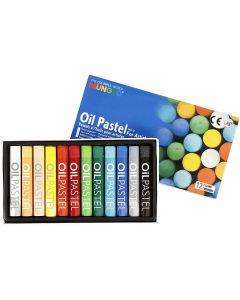 Pastels à l'huile Mungyo, L: 7 cm, ép. 11 mm, couleurs assorties, 12 pièce/ 1 Pq.