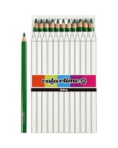 Crayons de couleur Colortime , L: 17,45 cm, mine 5 mm, JUMBO, vert, 12 pièce/ 1 Pq.