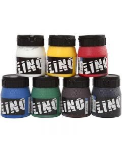 Encre lino, couleurs assorties, 7x250 ml/ 1 Pq.