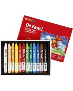 Pastels à l'huile Mungyo triangulaires, L: 7 cm, ép. 10 mm, couleurs assorties, 12 pièce/ 1 Pq.