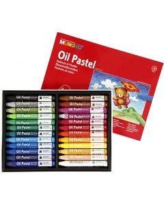 Pastels à l'huile Mungyo triangulaires, L: 7 cm, ép. 10 mm, couleurs assorties, 24 pièce/ 1 Pq.