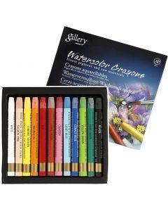 Crayons cire aquarellables, L: 9,3 cm, couleurs assorties, 12 pièce/ 1 Pq.