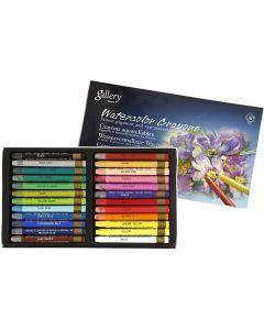 Crayons cire aquarellables, L: 9,3 cm, couleurs assorties, 24 pièce/ 1 Pq.