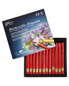 Crayons cire aquarellables, L: 9,3 cm, rouge (313), 12 pièce/ 1 Pq.