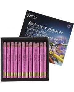 Crayons cire aquarellables, L: 9,3 cm, rose froid (316), 12 pièce/ 1 Pq.