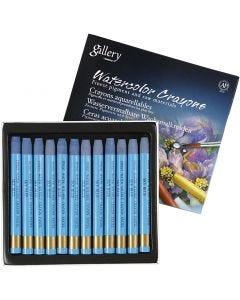 Pastels à la cire aquarellables, L: 9,3 cm, bleu ciel (337), 12 pièce/ 1 Pq.