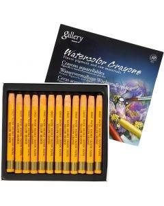 Crayons cire aquarellables, L: 9,3 cm, yellow orange (308), 12 pièce/ 1 Pq.