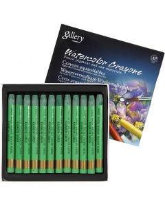 Crayons cire aquarellables, L: 9,3 cm, kadmium green (345), 12 pièce/ 1 Pq.