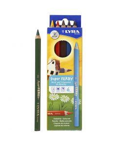 Crayons de couleur Lyra Super Ferby 1, L: 18 cm, mine 3 mm, couleurs assorties, 6 ass./ 1 Pq.