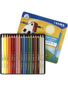 Crayons de couleur Lyra Super Ferby 1, L: 18 cm, mine 3 mm, couleurs assorties, 18 pièce/ 1 Pq.