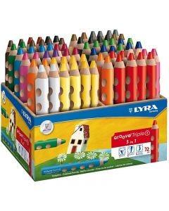 Crayons de couleur Groove Triple1, L: 12 cm, mine 10 mm, couleurs assorties, 72 pièce/ 1 Pq.
