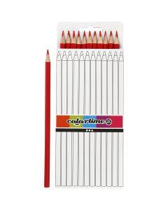 Crayons de couleur Colortime, L: 17 cm, mine 3 mm, rouge, 12 pièce/ 1 Pq.