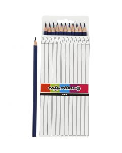 Crayons de couleur Colortime, L: 17 cm, mine 3 mm, bleu foncé, 12 pièce/ 1 Pq.