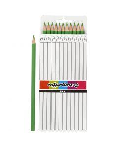 Crayons de couleur Colortime, L: 17 cm, mine 3 mm, vert clair, 12 pièce/ 1 Pq.