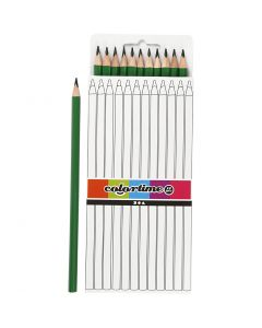 Crayons de couleur Colortime, L: 17 cm, mine 3 mm, vert, 12 pièce/ 1 Pq.