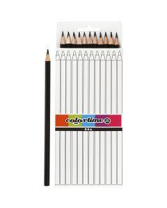 Crayons de couleur Colortime, L: 17 cm, mine 3 mm, noir, 12 pièce/ 1 Pq.