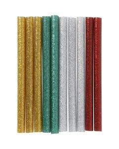 Bâtons de colle pour pistolet à colle, L: 10 cm, paillettes, or, vert, rouge, argent, 10 pièce/ 1 Pq.