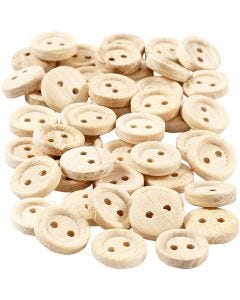 Boutons en bois, d: 11 mm, 2 trous, 50 pièce/ 1 Pq.