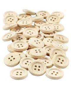 Boutons en bois, d: 18 mm, 4 trous, 40 pièce/ 1 Pq.