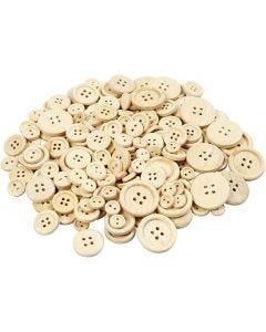 Boutons en bois, d: 8+11+15+18+23 mm, 440 pièce/ 1 Pq.