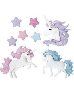Boutons originaux, licornes magiques, H: 9-32 mm, L: 9-35 mm, 3 pièce/ 1 Pq.