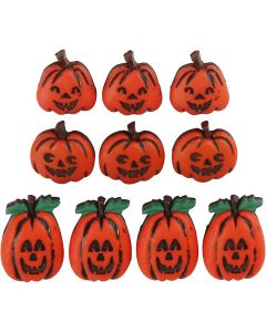 Boutons originaux, têtes de citrouilles, H: 14-20 mm, L: 13-14 mm, 10 pièce/ 1 Pq.