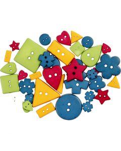 Boutons à formes, d: 8-18 mm, diamètre intérieur 2 mm, couleurs franches, 37 pièce/ 1 Pq.