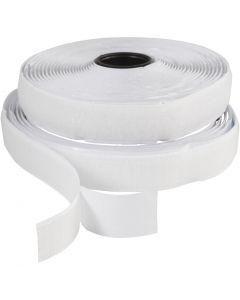Bande Velcro , autocollant, L: 20 mm, blanc, 5 m/ 1 rouleau