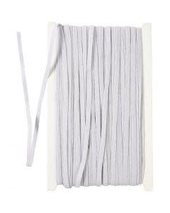 Cordon élastique, L: 6 mm, blanc, 50 m/ 1 rouleau