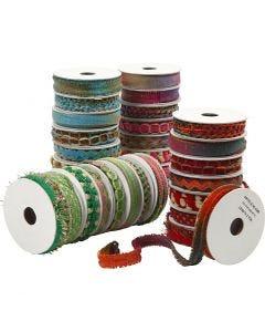 Rubans décoratifs - Assortiment, L: 8-12 mm, bleu, vert, rose, rouge, 64x1,8 m/ 1 Pq.