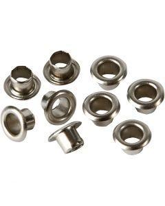 Oeillets, H: 4,5 mm, d: 7,5 mm, diamètre intérieur 4 mm, argent, 100 pièce/ 1 Pq.