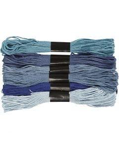Fil à broder - Assortiment, ép. 1 mm, harmonie de bleus, 6 boule/ 1 Pq.