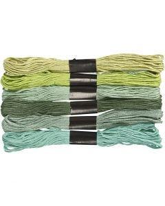 Fil à broder - Assortiment, ép. 1 mm, glitter vert, 6 boule/ 1 Pq.