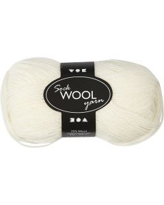 Pelote de laine pour chaussettes, L: 200 m, blanc cassé, 0x50 gr/ 1 boule