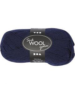 Pelote de laine pour chaussettes, L: 200 m, bleu foncé, 50 gr/ 1 boule