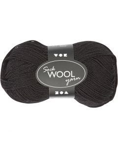 Pelote de laine pour chaussettes, L: 200 m, noir, 0x50 gr/ 1 boule
