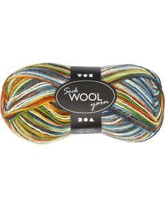 Pelote de laine pour chaussettes, L: 200 m, vert mousse, 50 gr/ 1 boule