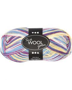 Pelote de laine pour chaussettes, L: 200 m, blanc cassé, 50 gr/ 1 boule