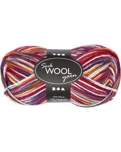 Pelote de laine pour chaussettes, L: 200 m, harmonie bleu/rouge, 50 gr/ 1 boule