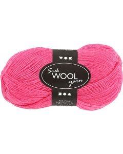 Pelote de laine pour chaussettes, L: 200 m, rose, 50 gr/ 1 boule